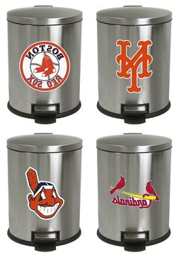 MLB Step Can 1.3 Gal Stainless Steel Oval Wastebasket Team L