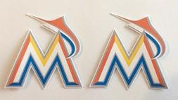 2x Miami Marlins Car Window Bumper Laptop Scrapbook Vinyl St