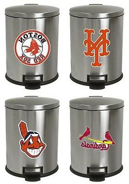 MLB Step Can 3.1 Gal Stainless Steel Trash Can Wastebasket w