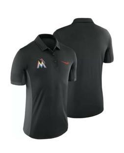 Nike Baseball polo shirt black Miami Marlins Men Size XL Aut