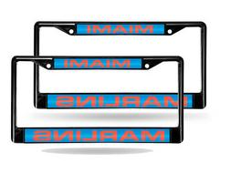 Black Laser Chrome License Plate Frame - Miami Marlins