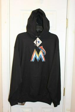 black Miami Marlins stitched hoodie / hooded sweatshirt  - a