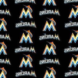 BTHY MLB Miami Marlins Black Cotton Fabric By The Half Yard