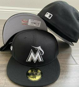 New Era Cap 59FIFTY Miami Marlins Black White Hat Fitted 595