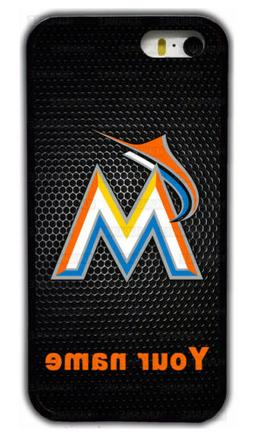 Custom Miami Marlins Personalised Name Rubber Phone Case For