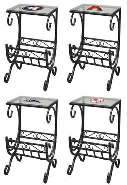 End Table Nightstand with Magazine Rack MLB Team Logo on Tab