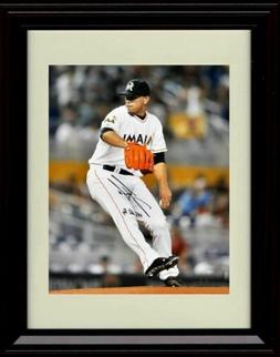 Framed Jose Fernandez - Black Shoes - Miami Marlins Autograp