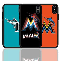For iPhone 6 7 8 X Plus Miami Marlins Baseball Team Silicone
