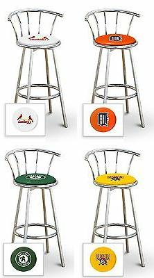 "BAR STOOL MLB TEAM LOGO DECAL 24"" TALL CHROME FINISH METAL S"