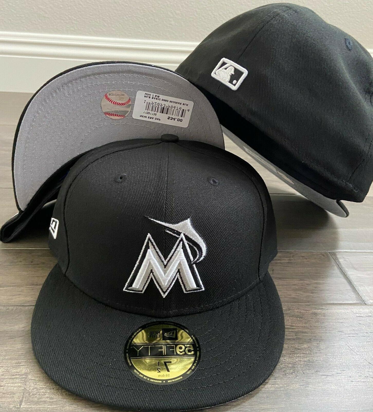 cap 59fifty miami marlins black white hat