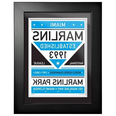 miami marlins 12x16 dual tone framed artwork