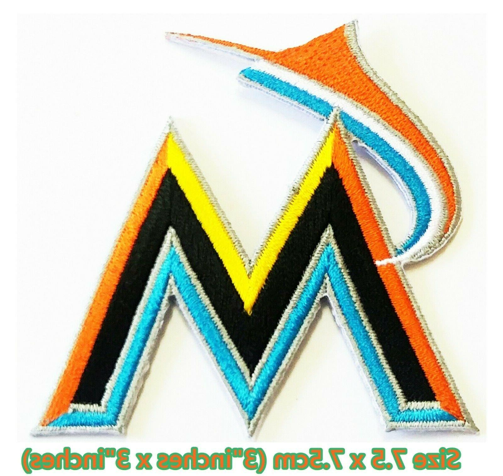 miami marlins baseball sport embroidery patch logo