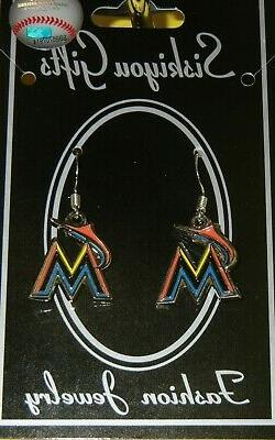 Miami Marlins Dangle Earrings  MLB Licensed Baseball Jewelry