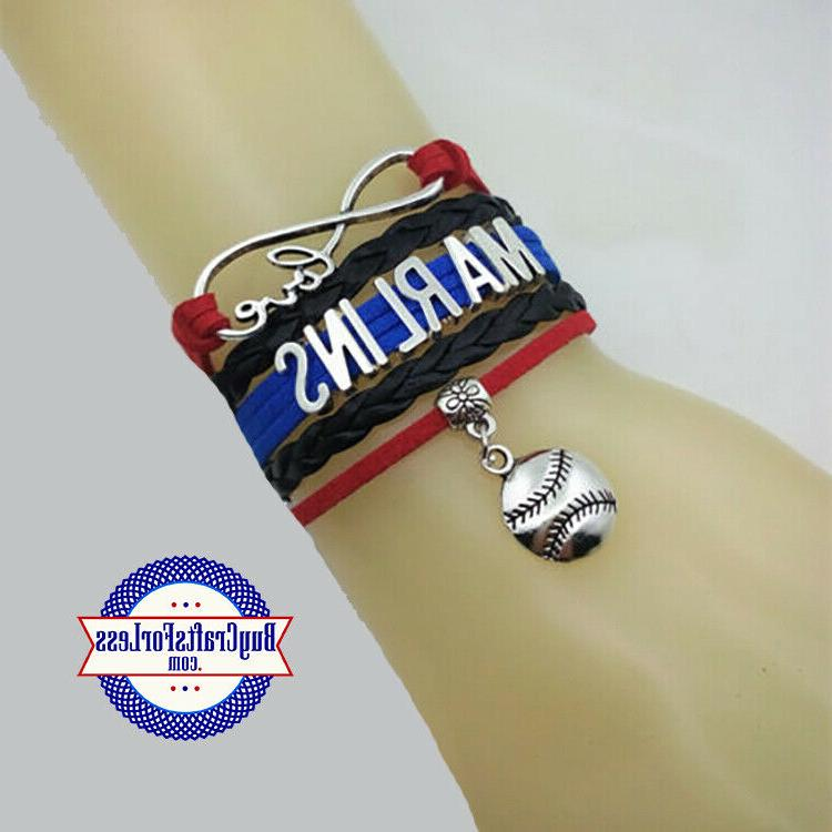 miami marlins leather woven bracelet free shipping