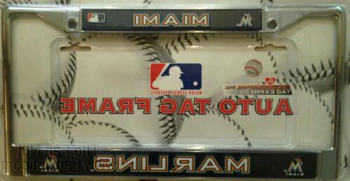 miami marlins metal chrome license plate tag