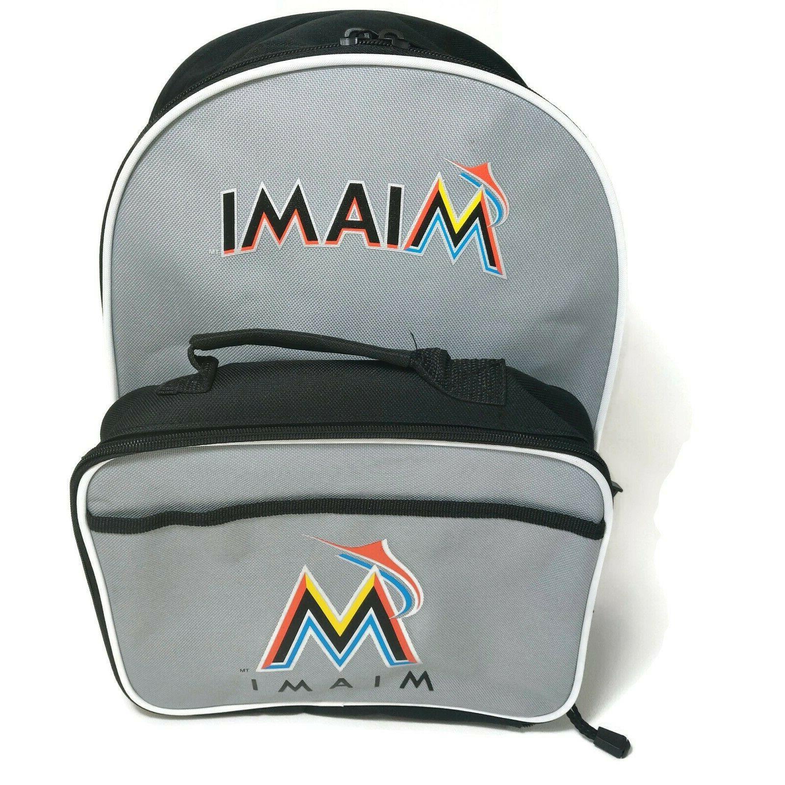 miami marlins mlb backpack school book bag