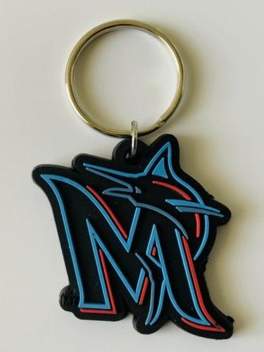 miami marlins mlb baseball keychain keyring team