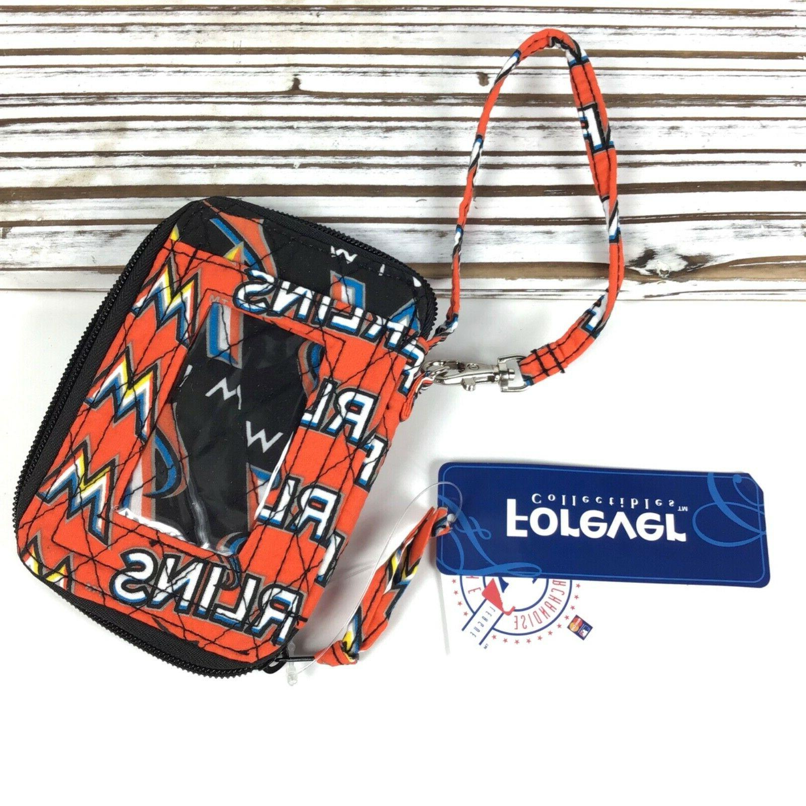 miami marlins mlb quilted wallet wristlet w