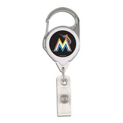 miami marlins premium metal retractable id badge