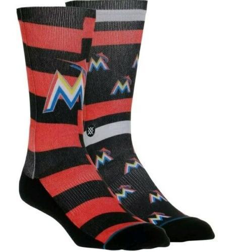 miami marlins splatter mens large socks crew