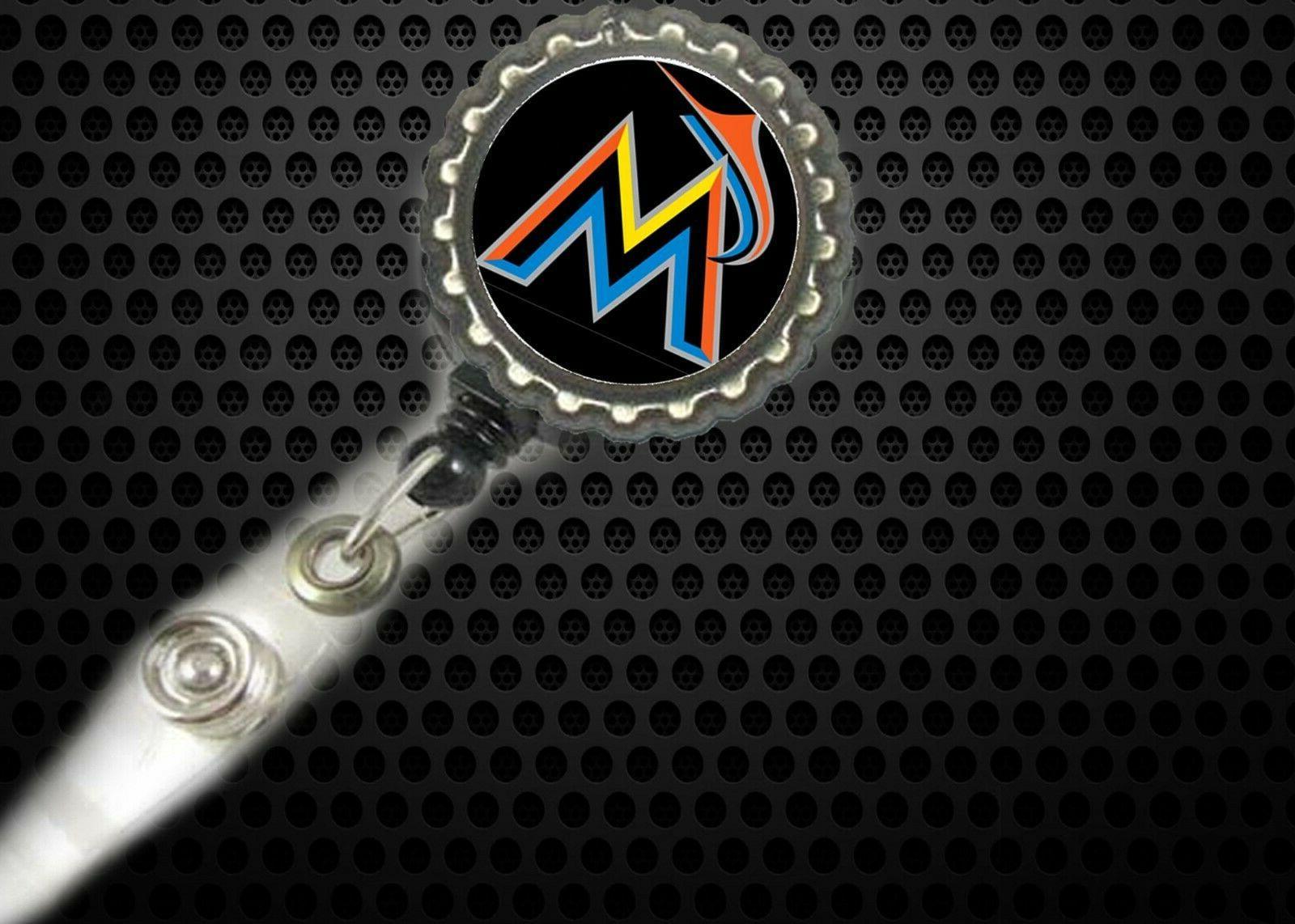 miami marlins work retractable reel id badge