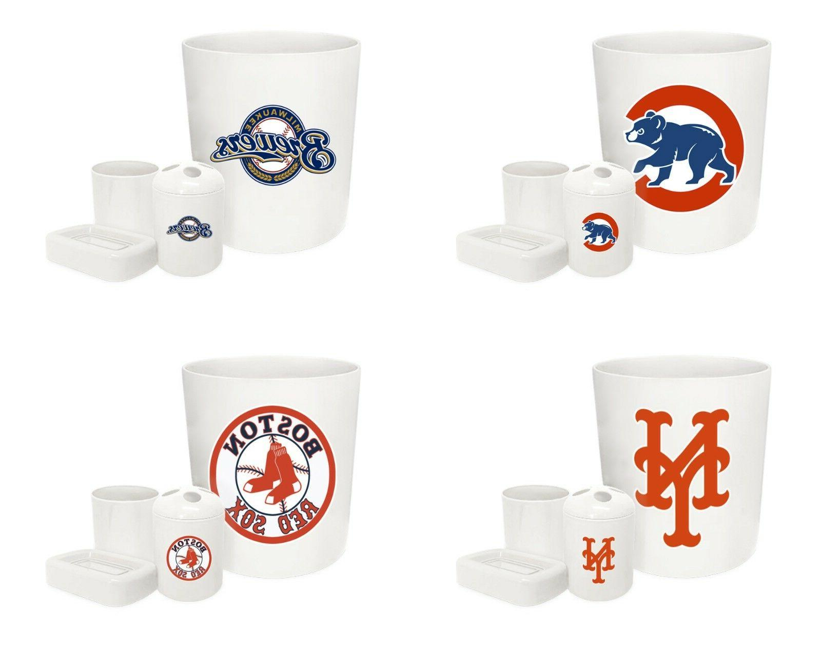 mlb logo theme white 4 pc bathroom