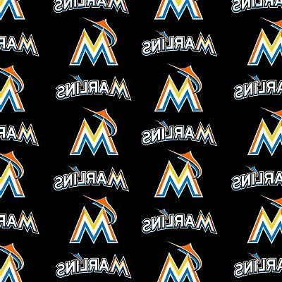 mlb miami marlins all over cotton fabric