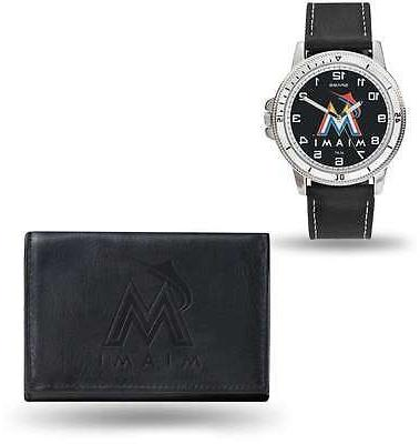 mlb miami marlins black faux leather watch