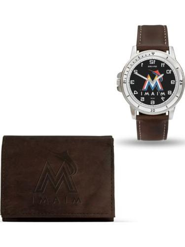 mlb miami marlins leather watch wallet set
