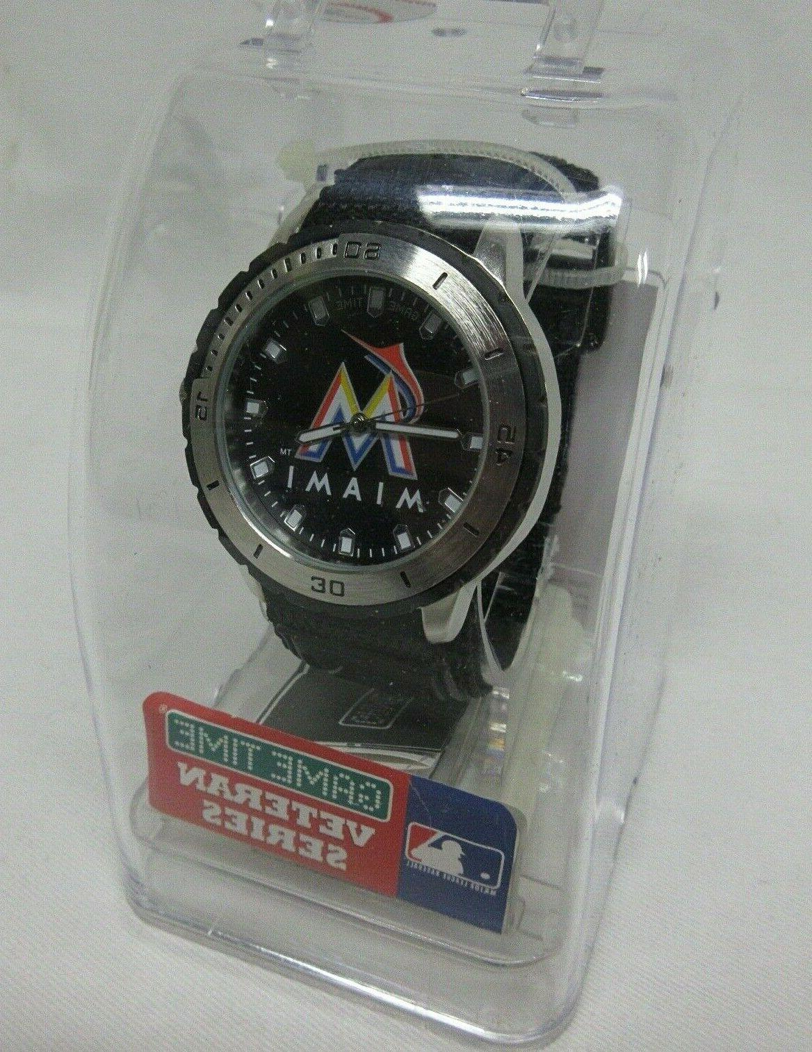 nip men miami marlins large bezel watch