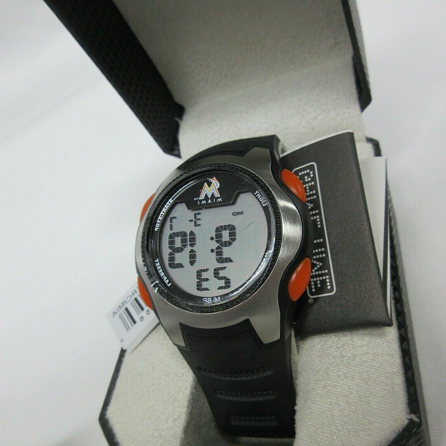 nwt men miami marlins digital watch mlb