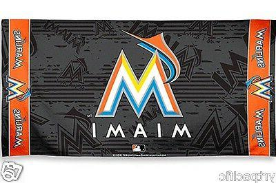 official licensed miami marlins beach bath towel