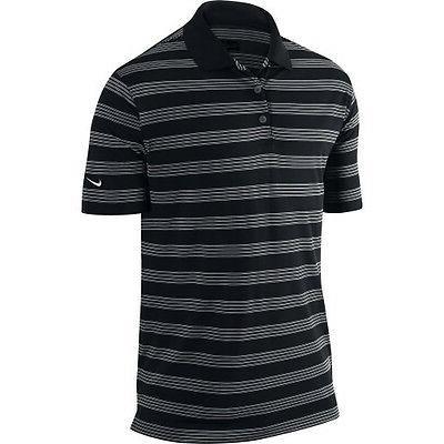 nike mens prior generation victory stripe golf polo black w/