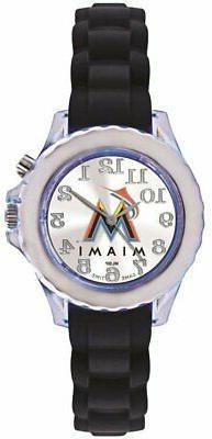 Youth MLB Miami Marlins Flash Black Strap Watch