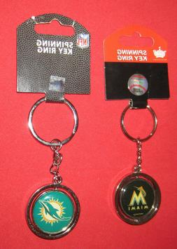LOT of 2 SPINNING KEY RINGS-MIAMI DOLPHINS-MIAMI MARLINS-VIN