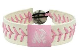 Miami Florida Marlins MLB Baseball Leather Pink Bracelet
