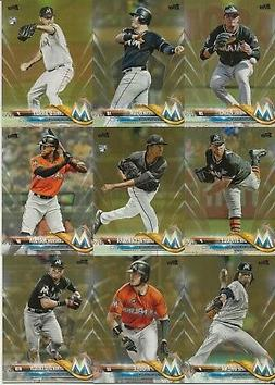 MIAMI MARLINS 2018 Topps Series 2 GOLD PARALLEL TEAM SET