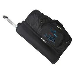 "Miami Marlins 27"" 2-Wheel Rolling Drop Bottom Duffel Bag - B"