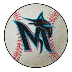 """Miami Marlins 27"""" Baseball Shaped Area Rug Floor Mat"""