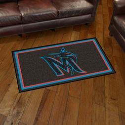 Miami Marlins 3' X 5' Decorative Ultra Plush Carpet Area Rug