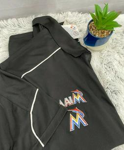 Majestic Miami Marlins 3XLT Black Synthetic Polo Shirt Big &