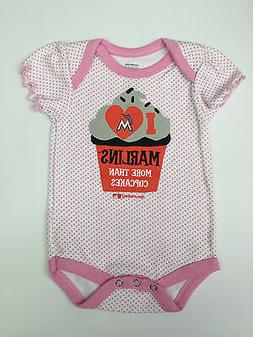 Miami Marlins Baseball Baby Girl All in One MLB Pink Cupcake