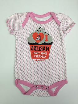 Miami Marlins Baseball Baby Girl All in One MLB Pink Cupcake