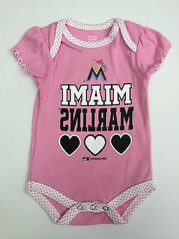 Miami Marlins Baseball Baby Girls All in One MLB Pink Ruffle