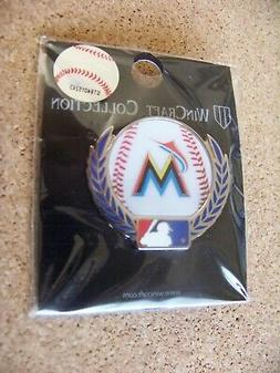 Miami Marlins baseball w/ laurels lapel pin MLB ball