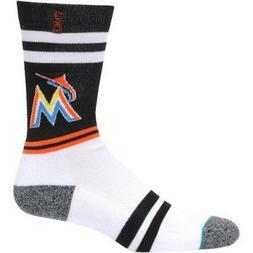 miami marlins black men s crew socks