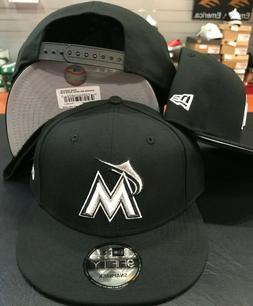MIAMI MARLINS BLACK WHITE M Snap Snapback 9Fifty New Era CAP