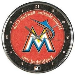 Miami Marlins Chrome Round Wall Clock  MLB Sign Banner Offic