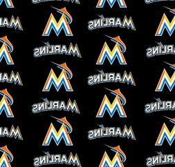 """miami marlins fabric 10""""x58"""" COTTON good for masks next day"""