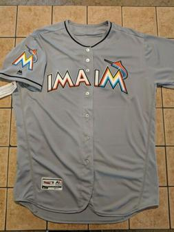 Miami Marlins Majestic Flex Base Authentic Blank Jersey Gray